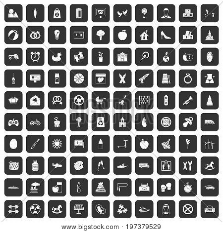 100 maternity leave icons set in black color isolated vector illustration