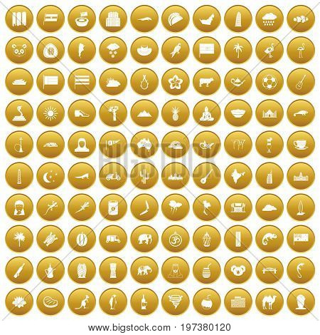 100 exotic animals icons set in gold circle isolated on white vectr illustration