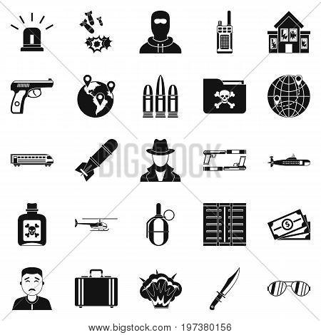 Antiterror icons set. Simple set of 25 antiterror icons for web isolated on white background