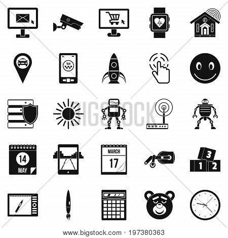 Hardware icons set. Simple set of 25 hardware icons for web isolated on white background
