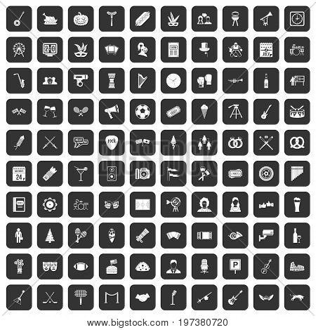 100 meeting icons set in black color isolated vector illustration