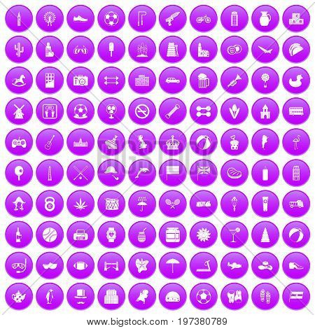 100 ball icons set in purple circle isolated on white vector illustration