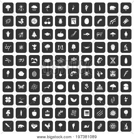 100 microbiology icons set in black color isolated vector illustration