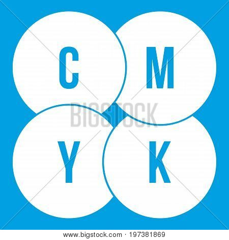 CMYK circles icon white isolated on blue background vector illustration
