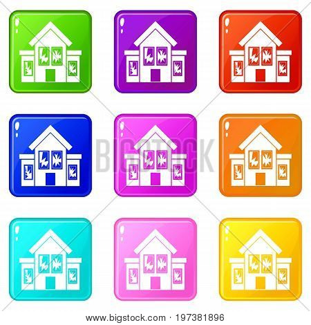 House with broken windows icons of 9 color set isolated vector illustration