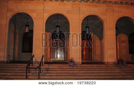 church steps at night