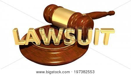 Lawsuit Law Concept 3D Illustration