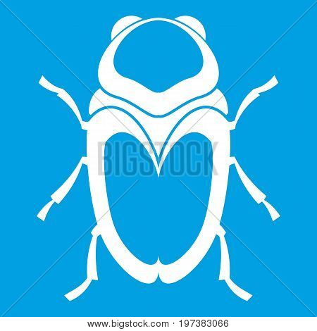 Scarab beetle icon white isolated on blue background vector illustration