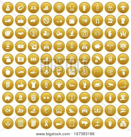 100 hand icons set in gold circle isolated on white vectr illustration