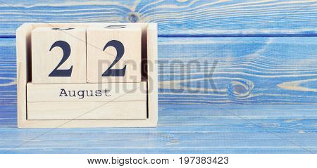 Vintage Photo, August 22Th. Date Of 22 August On Wooden Cube Calendar