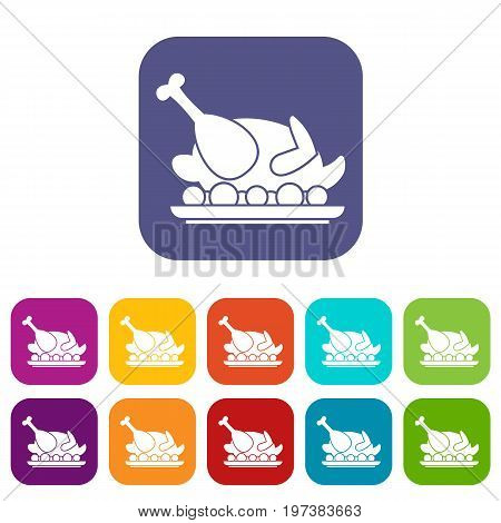 Roasted turkey icons set vector illustration in flat style in colors red, blue, green, and other