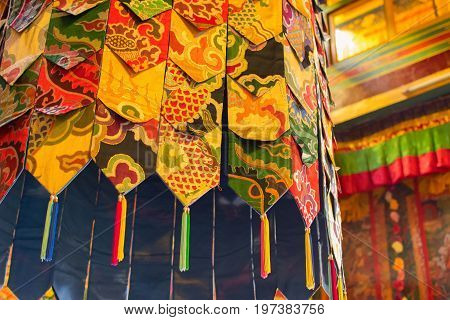 Buddhist thangka - a Tibetan Buddhist painting on cotton or silk applique - in a monastery in Ralong Sikkim India