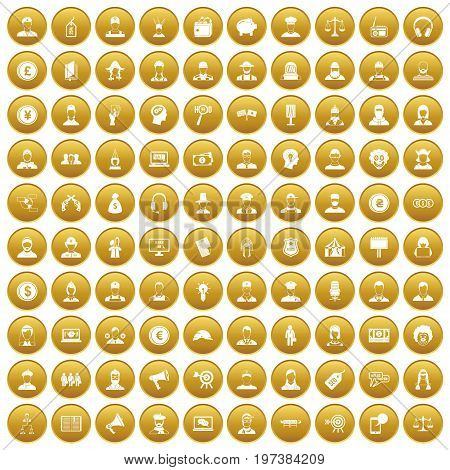 100 headhunter icons set in gold circle isolated on white vectr illustration