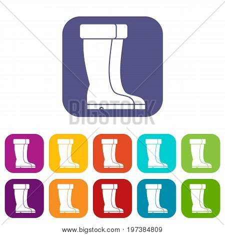 Winter shoes icons set vector illustration in flat style in colors red, blue, green, and other