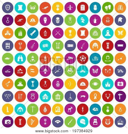 100 museum icons set in different colors circle isolated vector illustration