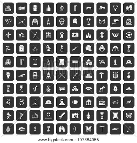 100 museum icons set in black color isolated vector illustration
