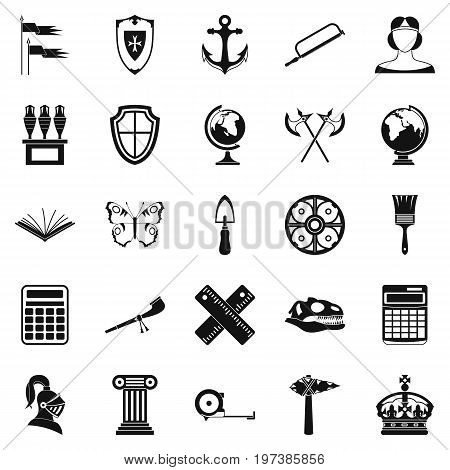 Ancient world icons set. Simple set of 25 ancient world vector icons for web isolated on white background