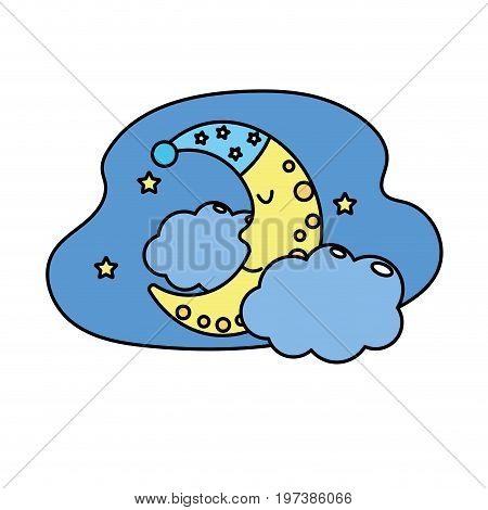 cute moon with sleep hat design and clouds with stars vector illustration
