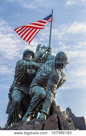 Marine memorial in Arlington, VA. The historic and emotional Iwo Jima memorial in Arlington Virginia.
