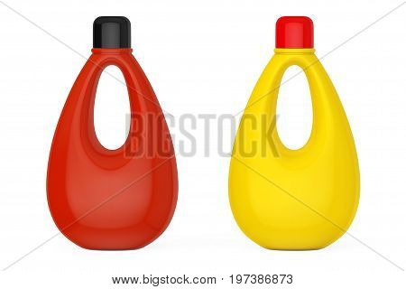 Multicolour Blank Plastic Bottles for Bleach Liquid Laundry Detergent or Fabric Softener on a white background. 3d Rendering.