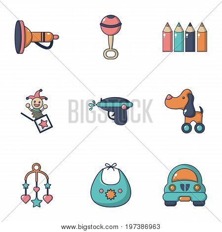 Baby toys icons set. Flat set of 9 baby toys vector icons for web isolated on white background