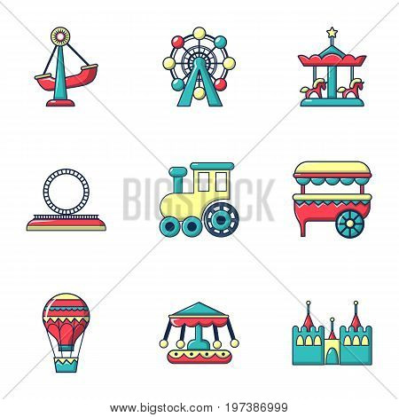 Amusement park icons set. Flat set of 9 amusement park vector icons for web isolated on white background