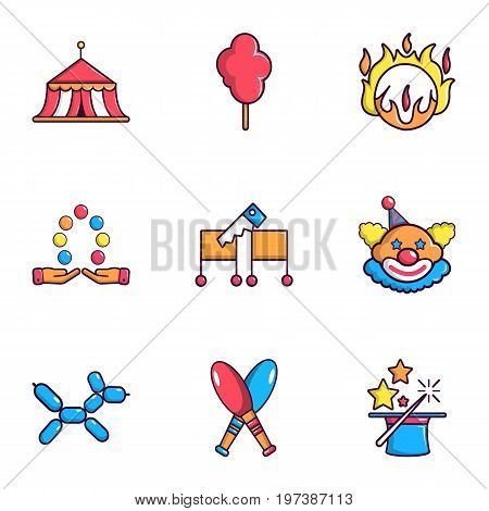 Circus icons set. Flat set of 9 circus vector icons for web isolated on white background