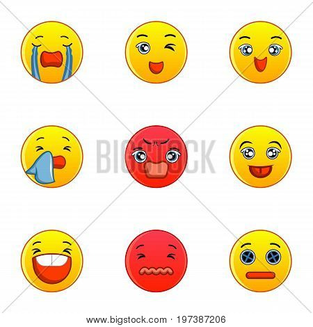 Emoticon icons set. Flat set of 9 emoticon vector icons for web isolated on white background