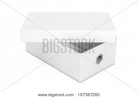 White Blank Cardboard Shoe Box Mockup for your Design on a white background. 3d Rendering