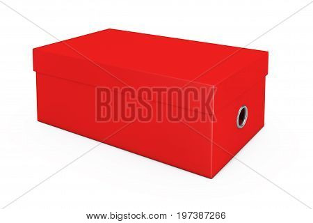 Red Blank Cardboard Shoe Box Mockup for your Design on a white background. 3d Rendering