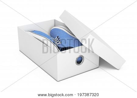 New Unbranded Blue Denim Sneakers in White Shoe Box on a white background. 3d Rendering