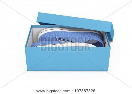 New Unbranded Blue Denim Sneakers in Blue Shoe Box on a white background. 3d Rendering