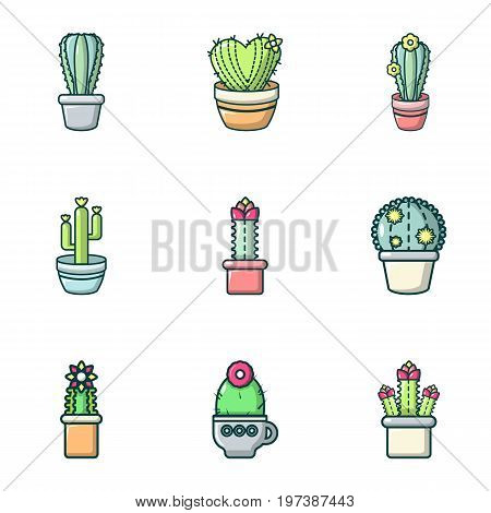 Cactus icons set. Outline set of 9 cactus vector icons for web isolated on white background
