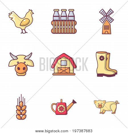 Village farm icons set. Flat set of 9 village farm vector icons for web isolated on white background