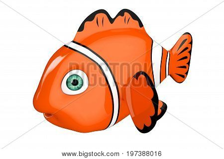 Cartoon Red Sea Clownfish on a white background. 3d Rendering.
