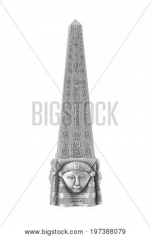 Metal Egyptian Obelisk on a white background