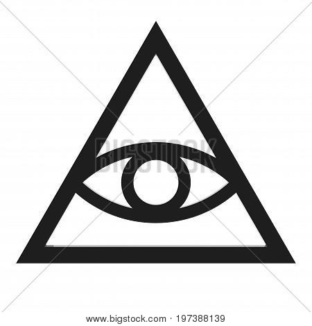 Freemason and Spiritual All Seeing Eye Pyramid Illuminaty Symbol on a white background. 3d Rendering