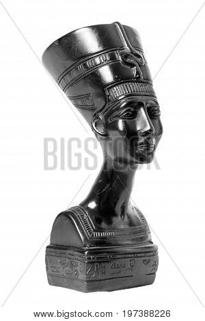 Bust of Nefertiti Egyptian Queen on a white background
