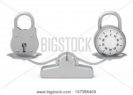 Old Big Padlock with Combination Padlock Balancing on a Simple Weighting Scale on a white background. 3d Rendering
