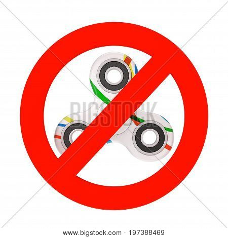 Prohibition Sign with Fidget Finger Spinner Antistress Toy on a white background. 3d Rendering.