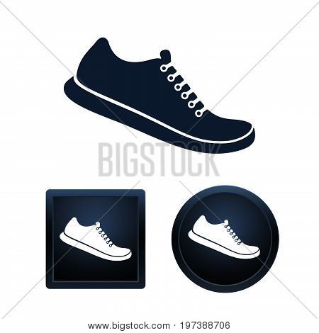 Simple and button shape Shoe icons on white background for your designs. Vector illustration icons.
