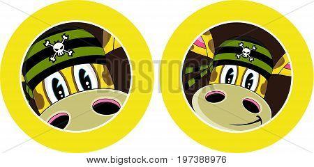 Cute Cartoon Bandana Pirate Crewman wearing Bandana