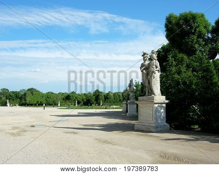 Beautiful statues in the garden of the lower Belvedere Palace. Vienna. Austria