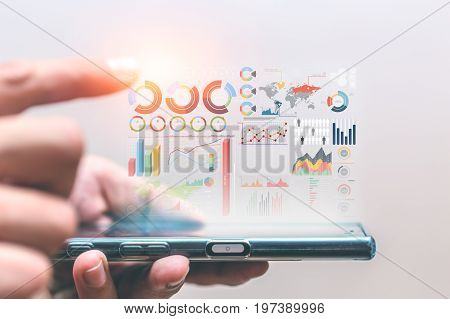 Business Data Infomation Bring Out From Smartphone Concept.