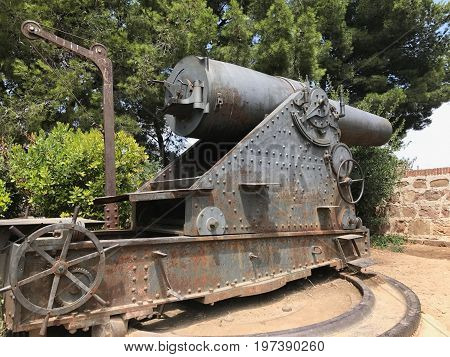 Spanish Cannon in city of Barcelona, Spain