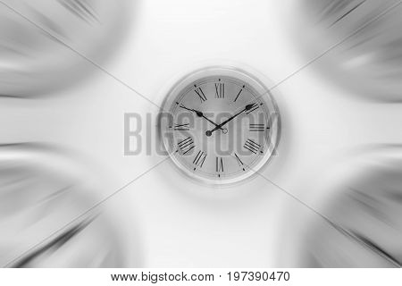 White Clock Time With Zoom Motion Blur Moving Pass Focus Fast Speed Business Hour Concept.