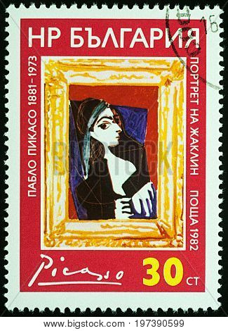 Moscow Russia - July 26 2017: A stamp printed in Bulgaria shows painting Jacqueline Rock by Picasso (1957) series