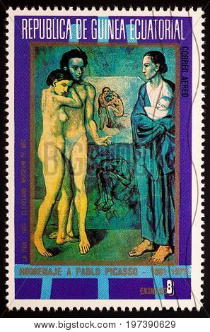 Moscow Russia - July 28 2017: A stamp printed in Equatorial Guinea shows painting