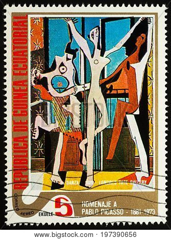 Moscow Russia - July 27 2017: A stamp printed in Equatorial Guinea shows painting Dancer by Pablo Picasso series