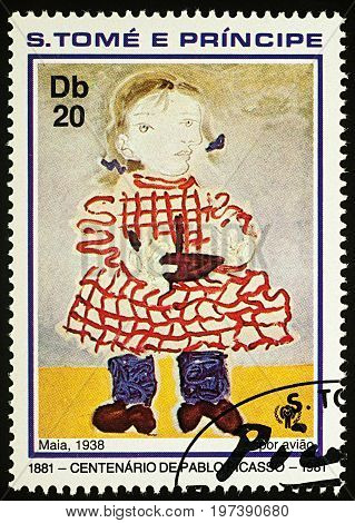 Moscow Russia - July 27 2017: A stamp printed in Sao Tome and Principe shows painting Girl (Maia) by Pablo Picasso series